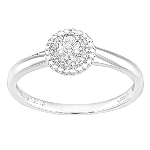 Naava 9ct wit goud ronde halo diamant solitaire verlovingsring