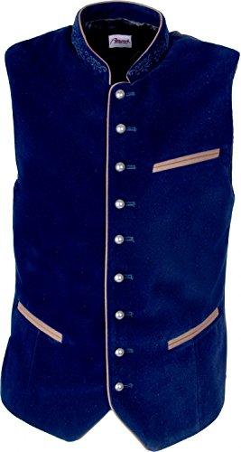 Almwerk Herren Trachten Samt Weste Gilet in vielen Farben, Größe:58;Farbe:dunkelblau