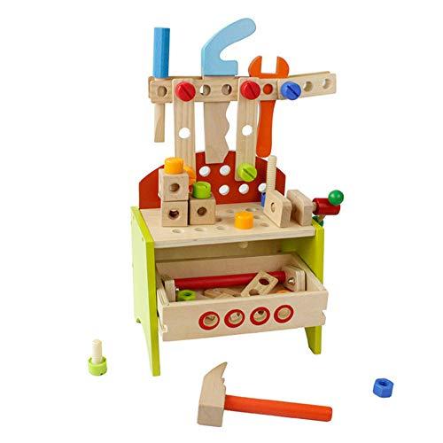 MELLRO Kinderspielblöcke Bauen und Lernen Spielset Mehrfarbige Holzwerkzeuge und tragbare Werkzeugstühle Kinder DIY Tischler Spielzeug Für Kleinkinder Kinder Mädchen & Jungen