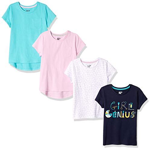 Spotted Zebra Girls' Kids Short-Sleeve T-Shirts, 4-Pack Genius, Large
