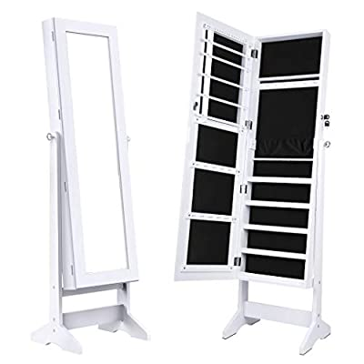 LANGRIA Lockable Jewelry Cabinet Jewelry Armoire with Mirror Jewelry Holder Organizer Storage, 4 Angle Adjustable