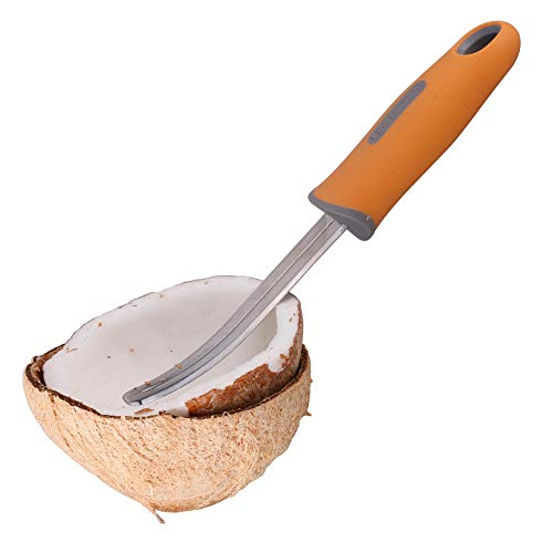 LEE House 2 piece Coconut Meat Remover Durable Non-slip Silicone Handle Stainless Steel Coconut Tool