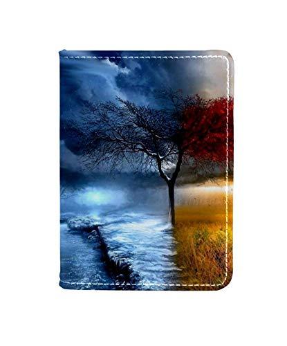 Spring Summer Autumn Winter Seasonal Trees Passport Holder Cover Wallet,RFID Blocking Card Case Travel Passport Organizer Protector