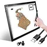 Light Box Drawing Pad, A4 Tracing Board with Type-C Charge Cable and Brightness Adjustable for Artists, AnimationDrawing, Sketching, Animation, X-ray Viewing (A4-ST)