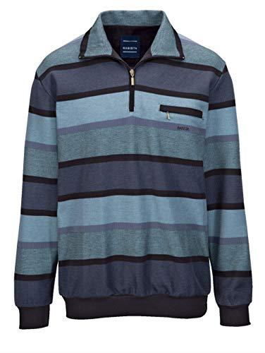 BABISTA Herren Sweatshirt Langarm Gestreift mit Umlegekragen in Blau aus Baumwolle