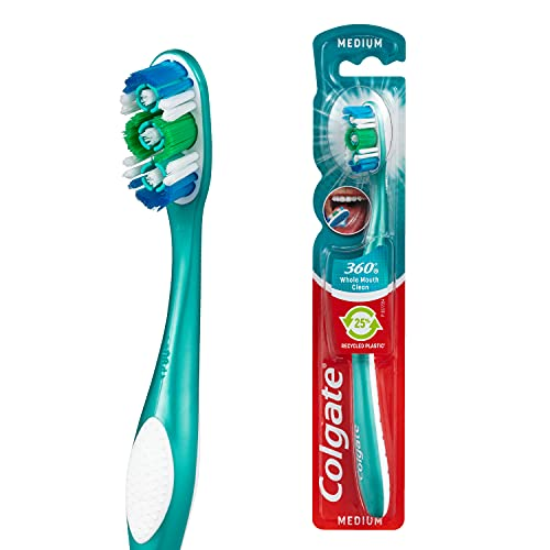 Colgate 360° Whole Mouth Clean Manual Toothbrush, 1 Pack, Medium Bristles, 25% Recycled Plastic Handle, Compact Head with Cheek and Tongue Cleaner