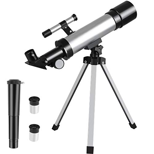 OBANGONG Telescope for Kids Telescopes for Astronomy Beginners 50mm Aperture 360mm Astronomy Telescope Capable of 90x Magnification Includes Two Eyepieces Tabletop Tripod Finder Scope