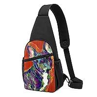 フレンチブルドッグのアート Dog ボディバッグ ショルダーバッグ メンズ 斜めがけバッグ ワンショルダーバッグ ボディーバッグ