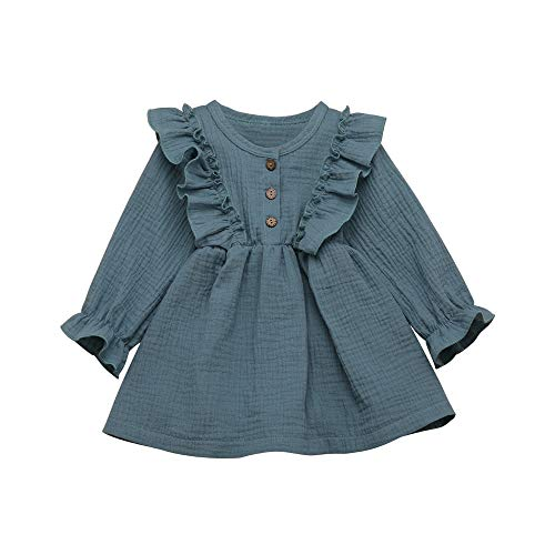 Aoty Toddler Baby Girls Long Sleeve Dresses Ruffled Skirt Infant Fall Outfits (Blue, 2-3T)
