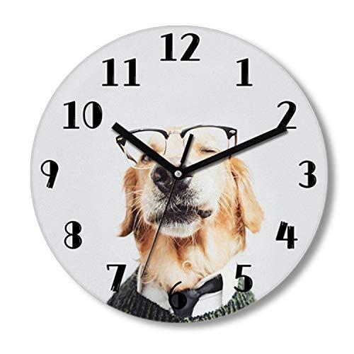 "CZHEZEE Cute Dog in Glass - Printed Animal Wall Clock Non-Ticking - Silent Wall Clock - Kids Clock - 10"" Decorative Frameless Clock Battery Operated - Contemporary Creative Wall Clock Round"