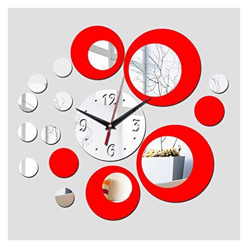 WLKJ Llegada a la cámara Caliente Plata Flor Grande Cuarzo Acrílico Acrílico Reloj de Reloj de Reloj Mirror 3D Reloj Mirror (Color : Red)