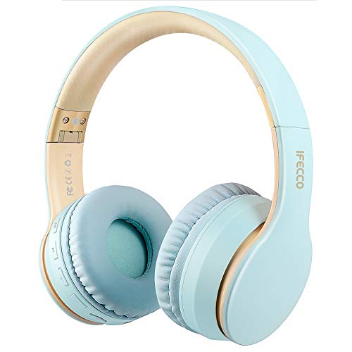 Ifecco Bluetooth Headphones, 4 in 1 Upgrade Bluetooth Foldable Over-Ear Headsets with Micro Support SD/TF Card Compatible with Bluetooth-Enabled Devices (Light Blue)