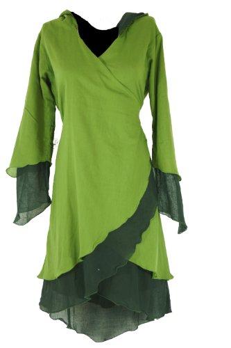 Guru-Shop tunika owijana z kapturem w rogu, tunika w stylu warstwowym, damska, bawełna, bluzki i tunika alternatywna odzież