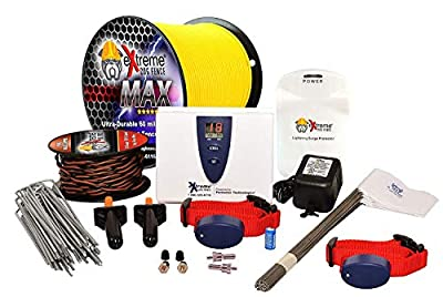 Extreme Dog Fence Max Grade Electric Dog Fence - 1 Dog Kit - 1000 Feet of 14 Gauge-Plus Maximum Duty Wire for Ultimate Performance and Reliability