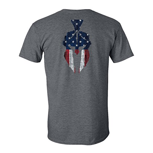 Kryptek Herren American Flag Spartan Hemd, Grau/amerikanische Flagge, Large