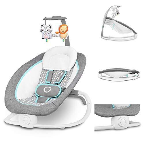 Lionelo Pascal Baby Wippe sanfte Vibrationen 5 Melodien Spielzeugkarussell mit interaktiven Plüschtieren Kopfkissen verstellbare Rückenlehne Energiesparsystem Grau