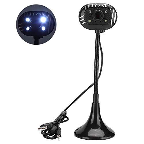Lange paal 480P webcam Zwart, High Definition-camera Ingebouwde microfoon voor internettelefoon, Verstelbare webcam met 4 * LED voor helder videobeeld, voor live/netwerkles Onderwijs/videoconferentie