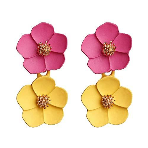Pendientes Viceroy Pendientes De Temperamento Con Estilo Romántico Multicolor Pendientes De Flores-Rosa + Amarillo