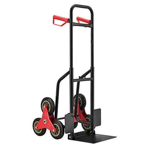pro.tec Carrello Saliscale Manuale Carrello di Trasporto Merce Portacasse Carrello per Trasloco Portapacchi per Scale a 6 Ruote Carico Max. 150 kg
