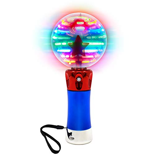 Light Up Spinning LED Magic Orb Wand Toy for Kids - Color Changing Star Globe - Includes Batteries & Strap - Fun Gift or Birthday Party Favor for Boys or Girls