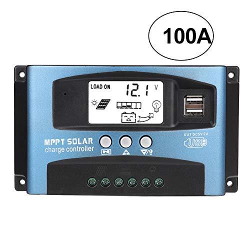 DEWIN Display LCD Regolatore di Carica Solare, 40A/50A/60A/100A, Controller Doppio Pannello Solare USB, Monitoraggio Messa a Fuoco Automatica MPPT, Regolatore Batteria Pannello Solare, 12/24V(100a)
