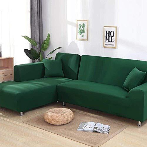 GAOZHEN Funda de sofá Spandex Color sólido Elástico Esquinero Sofá Funda Protectora para Silla Sala de Estar 1/2/3/4 Plazas, Verde Oscuro, 1 Plaza y 3 plazas
