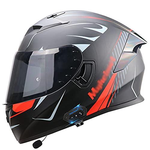 Bluetooth Integrado Modular Casco Moto Integral con Un Micrófono Incorporado Anti Niebla Visera Doble ECE Homologado con HD Doble Visera Casco Moto Integrales para Adultos A,XL=59~60cm