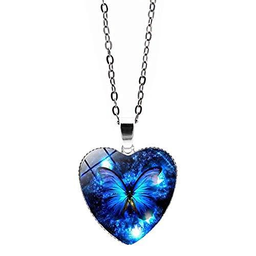 Collares para mujer, collar con forma de corazón de mariposa para mujer, collar con colgante de corazón, lindo y delicado colgante ajustable..