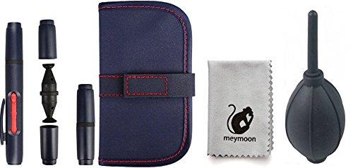 meymoon 5-Teiliges Reinigungs-Set (Blasebalg, Reinigungsstift, Mikrofasertuch) für Kameras mit Tasche und Ersatz-Patronen