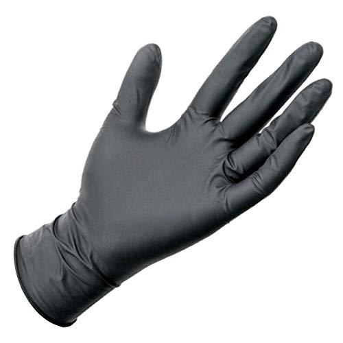 OLMME Lot de 100 gants de protection en caoutchouc jetables en nitrile Noir, 100 pièces., XL