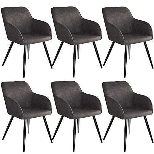 tectake 800871 Seis sillas de Comedor, Juego de 6 sillas para el salón, Conjunto de Asientos para la Cocina, Set de Muebles de Interior (Gris Oscuro-Negro)