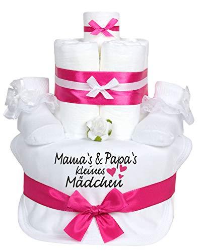 Trend Mama Windeltorte pink/weiss Mädchen im Geschenkkarton-Babysocken mit Rüschen+handbedrucktes Lätzchen mit Spruch- Mama's & Papa's kleines Mädchen