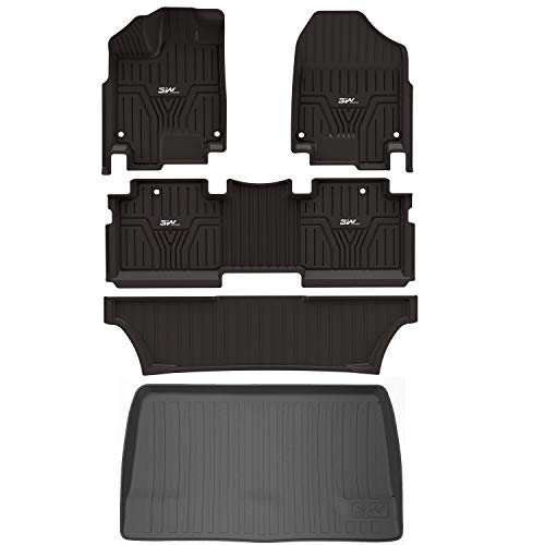 3WFloorMatsandCargoLinerCompatible for Honda Odyssey 2018-2021 TPEAllWeatherCustomFitFloorLiner and CargoMats 1st2ndand 3rd RowsCarMats andTrunkLiner Black