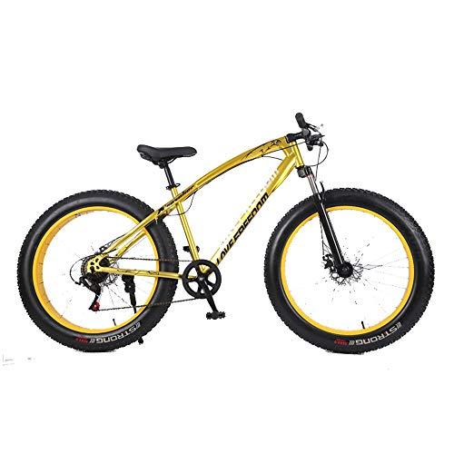 DRAKE18 Fat Bike, vélo de Montagne Cross-Country 26 Pouces 21 Vitesses de Montagne enneigée 4.0 Gros pneus Adulte équitation extérieure,Yellow