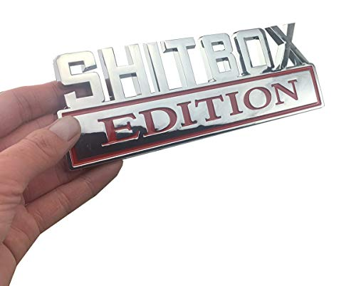 1Pc Big Size SHITBOX EDITION Emblem Badge Decal Stickers fits for Chevy Car Truck (Chrome Red)
