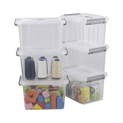 Minekkyes Clear Latching Storage Bin Plastic Storage Containers Set of 6 Storage Bin with Lid