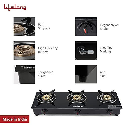 Lifelong LLGS303 Automatic Ignition 3 Burner Gas Stove with Toughened Glass Top (1 Year Warranty, Black)