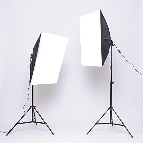 MVPower Set di Illuminazione Softbox, con 2 x Softbox, 2 x Treppiedi 2M, 2 x Lampadine da 135W a Risparmio Energetico, Kit Illuminazione di Luce Continua per Studio Fotografico