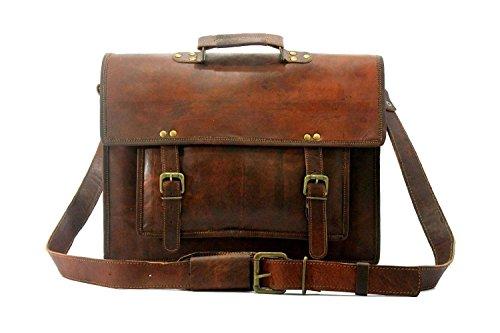 15 Inch Vintage Handmade Leather Messenger Bag for Laptop Briefcase Satchel Bag