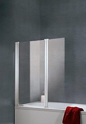 Schulte - Mampara plegable de bañera, reversible, 114 x 130 cm, con 2 paneles giratorios de cristal transparente con perfiles de color blanco: Amazon.es: Bricolaje y herramientas