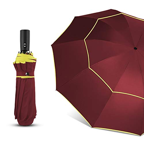 Buy GSB Fully Automatic Umbrella Windproof Rain Women Double Large 3 Folding Travel Windproof Outdoo...