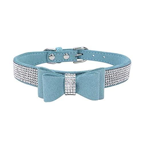 Collar de Nudo con Lazo de Diamantes de imitación para Mascotas, Collar de Corbata Suave y Bonito, Collar de Cuero de PU para Mascotas, Suministros para Perros, Azul Claro, XXS