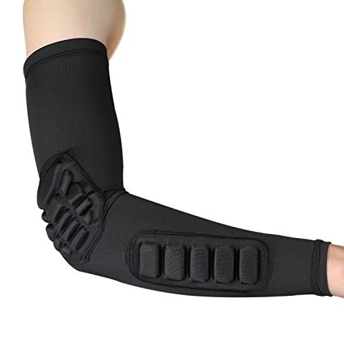 Parateck Elbow Pads Compression Arm Sleeve for Men Women Tennis Elbow - Padded Shooter Sleeve Elbow Brace Support for Basketball Football Volleybal Baseball Cycling (M)