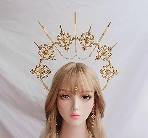 hongruida Lolita - Diadema vintage con diseño de ángel y halo dorado para la diosa de la Virgen María, Halo de novia, cadena de cuentas de corona barroco (color: halo solo A)