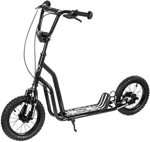 HyperMotion - Monopattino Viva 12 per bambini e adolescenti, fino a 50 kg, telaio in acciaio massiccio, 2 freni, altezza regolabile da 78 a 85 cm, ruote gonfiabili da 30 cm, colore: Nero