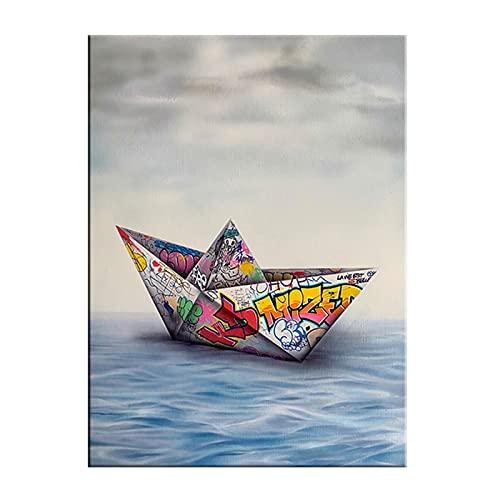 Shmjql Graffiti Art Paper Origami Barco Lienzo Pintura Carteles e Impresiones Imágenes artísticas de Pared para la Sala de Estar Decoración del hogar-50x70cmx1 Sin Marco