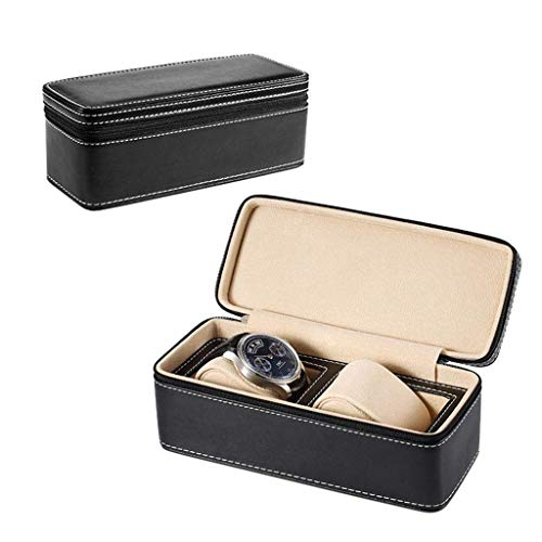 Kücheks Zipper Watch Storage Display Box Handmade Portable Watch Travel Watch Storage Bag Box (Color : B)