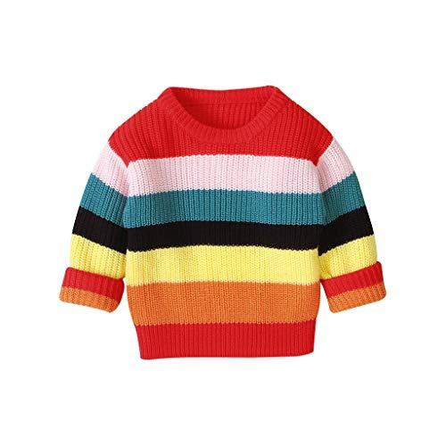 Dasongff gebreide trui voor kinderen, baby, herfst, winter, regenboog, sweatshirt, gebreide lange mouwen, pullover 0-4 jaar, baby, meisjes en jongens, unisex gebreid jack baby, bont pullover