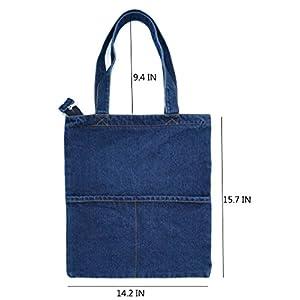 Canvas Bag Denim Tote Shoulder Handbag Shopping School Travel