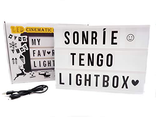 Caja de luz A4 con 215 tarjetas. Con ACENTOS. 10 láminas por fila. Cartel luminoso vintage para decorar habitacion, oficina, bodas, hogar. Cuadro con frases - regalo original y personalizado.